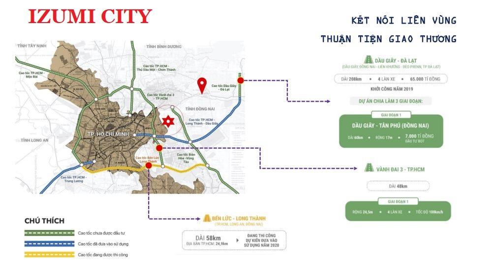 Bản đồ vị trí dự án Izumi City Đồng Nai 2021